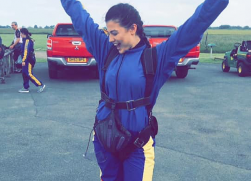 Molly celebrates her skydive