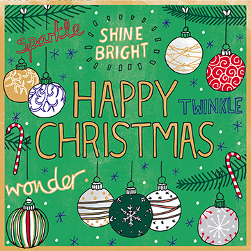 Pack of 10 Happy Christmas Baubles Christmas Cards.