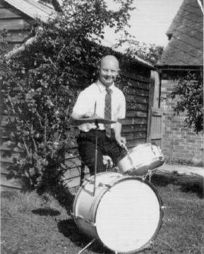Michael with his drum kit