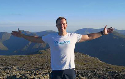 Darren Mildon at the summit of Scafell Pike