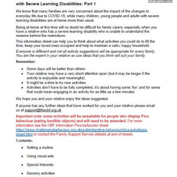 Activities for Adults with Severe Learning Disabilities 1